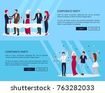 web page of corporate party... | Shutterstock .eps vector #763282033