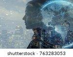 ai  artificial intelligence ... | Shutterstock . vector #763283053