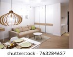 interior of modern apartment...   Shutterstock . vector #763284637