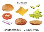 hamburger ingredients set ... | Shutterstock .eps vector #763284907