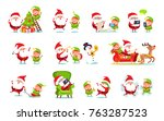 santa claus activities... | Shutterstock .eps vector #763287523