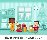 two excited biracial sister and ... | Shutterstock .eps vector #763287787