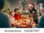 merry christmas  happy family... | Shutterstock . vector #763287907