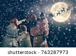 merry christmas and happy... | Shutterstock . vector #763287973