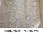 wedding dress detail | Shutterstock . vector #763289593