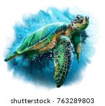 Big sea turtle watercolor painting