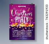 vector merry christmas party... | Shutterstock .eps vector #763291933
