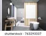 gray bathroom interior with a...   Shutterstock . vector #763293337