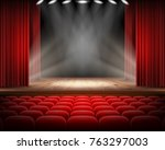 open red curtain and empty... | Shutterstock .eps vector #763297003