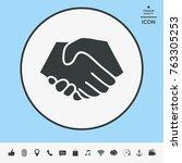 symbol of handshake in circle.... | Shutterstock .eps vector #763305253