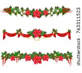 christmas garland with... | Shutterstock .eps vector #763311523