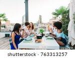 multi ethnic group of friends... | Shutterstock . vector #763313257