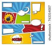 comic book vector frame set... | Shutterstock .eps vector #763314007