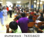 blurred background of queue of... | Shutterstock . vector #763316623