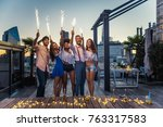 multi ethnic group of friends... | Shutterstock . vector #763317583
