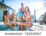 multi ethnic group of friends... | Shutterstock . vector #763318567