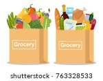 grocery in a paper bag and... | Shutterstock .eps vector #763328533