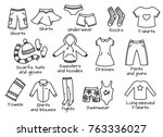 types of casual clothes  doodle ... | Shutterstock .eps vector #763336027