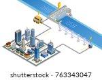 scheme of modern city energy... | Shutterstock . vector #763343047