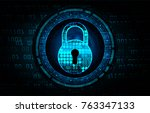 safety concept  closed padlock... | Shutterstock .eps vector #763347133