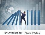 businessman in domino effect... | Shutterstock . vector #763349317