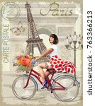 paris vintage poster.happy pin... | Shutterstock .eps vector #763366213