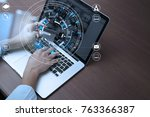 top view of hand using credit... | Shutterstock . vector #763366387