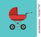baby stroller red isolated on... | Shutterstock .eps vector #763367767