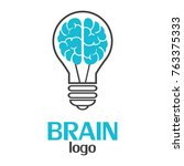 brain logo template on a white... | Shutterstock .eps vector #763375333