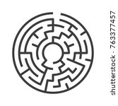 circular maze isolated on white ... | Shutterstock . vector #763377457