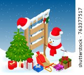 new year and merry christmas... | Shutterstock . vector #763377517