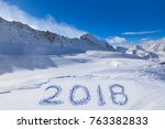 2018 on snow at mountains  ... | Shutterstock . vector #763382833