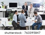 high angle view of business... | Shutterstock . vector #763395847