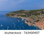 town villefranche sur mer in... | Shutterstock . vector #763400407