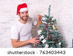 merry xmas and happy new year.... | Shutterstock . vector #763403443