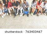 group of multiracial friends... | Shutterstock . vector #763403467