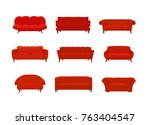 sofa and couches red colorful... | Shutterstock .eps vector #763404547