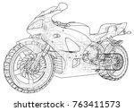 sports bike technical wire...   Shutterstock .eps vector #763411573