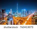 Dubai Skyline At Sunset With...