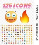 set of realistic cute icons on... | Shutterstock .eps vector #763413217