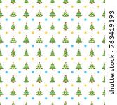 christmas seamless pattern with ... | Shutterstock .eps vector #763419193