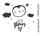 vector cards for baby shower... | Shutterstock .eps vector #763421197