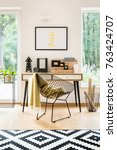 metal diamond chair with green... | Shutterstock . vector #763424707