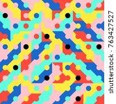 abstract 1980 memphis geometric ...   Shutterstock .eps vector #763427527