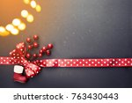 christmas decoration on wooden... | Shutterstock . vector #763430443