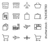 thin line icon set   shop ... | Shutterstock .eps vector #763438783