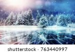 blue ice and cracks on the... | Shutterstock . vector #763440997