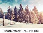 mysterious winter landscape... | Shutterstock . vector #763441183