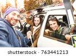 best friends having fun taking... | Shutterstock . vector #763441213