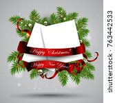 christmas decoration with... | Shutterstock .eps vector #763442533